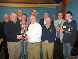 Armstrong winners Kilkenny Chess Club: left (back), John Bradley, Maurice Buckley, Ryan Griffiths, Alex Baburin, Darko Polimec, Mark Quinn, John Courtney, (front) Eamonn Keogh, Peter Scott (LCU) and Jack Lowry