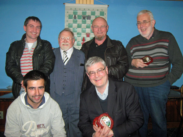 Bray/Greystones, winners of the William Brennan Memorial Trophy, with Mick Germaine