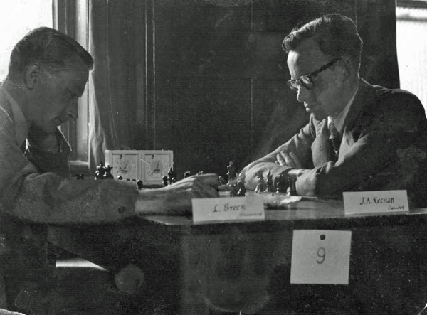 Liam Breen v Joseph Keenan during an unknown tournament in the 1950s