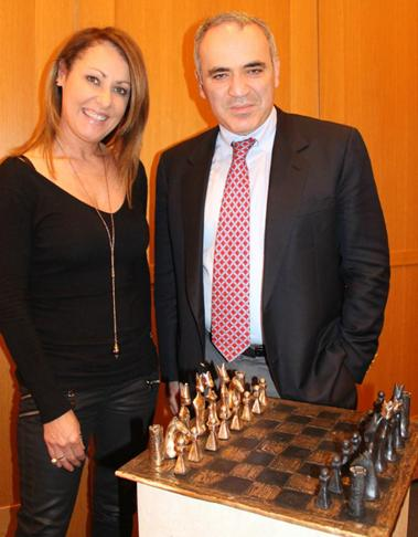 Celebrated Irish sculptor Orla de Bri photographed with Garry Kasparov and the chess set specially designed for Garry Kasparov's visit to Ireland.