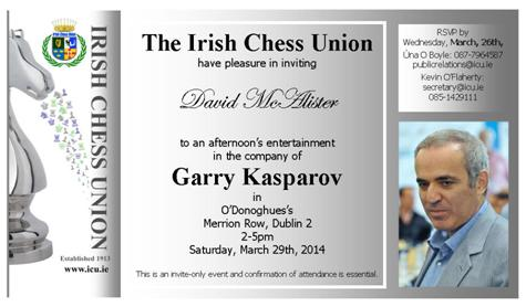 Garry Kasparov's visit to Ireland - Invite for reception in O'Donoghues